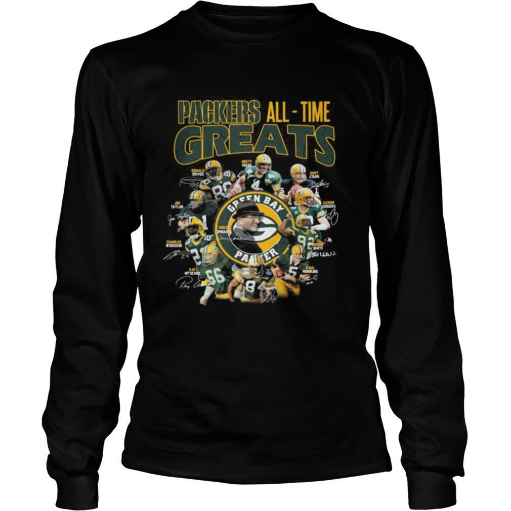 Green bay packers all time greats players signatures shirt