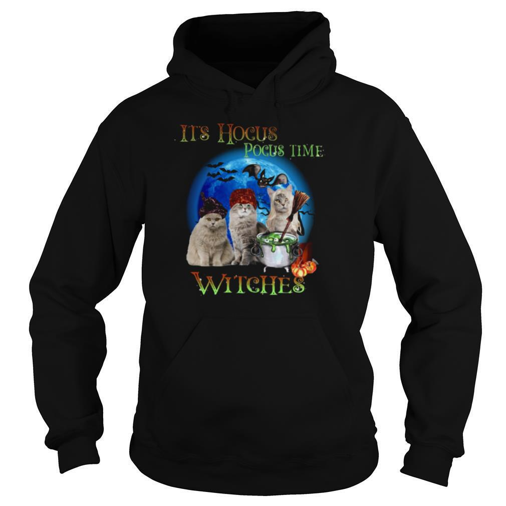CATS HALLOWEEN IT'S HOCUS POCUS TIME WITCHES shirt