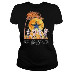 Halloween dallas cowboy football signatures moon shirt