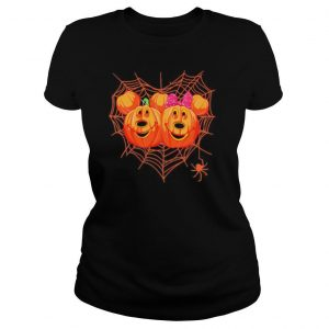 Happy halloween mickey and minnie mouse pumpkins heart spiderweb shirt