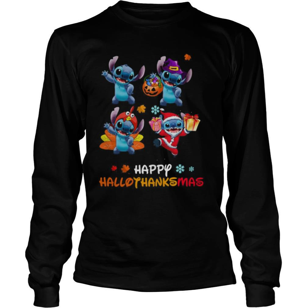 Stitch Disney Halloween And Merry Christmas Happy Hallothanksmas shirt