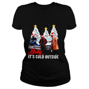 Supernatural characters santa Baby Its cold outside Christmas tree shirt