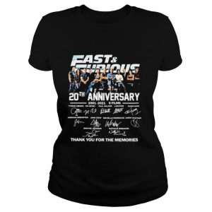 Fast And Eurious 20th Anniversary 2001 2021 Thank You For The Memories Signature shirt