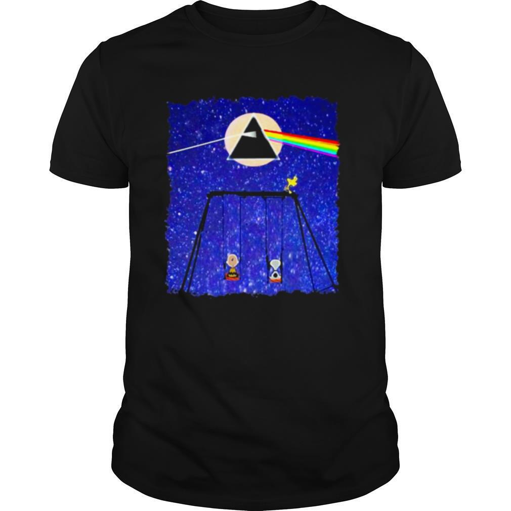 Snoopy Woodstock And Friend Watching Moon Pink Floyd shirt