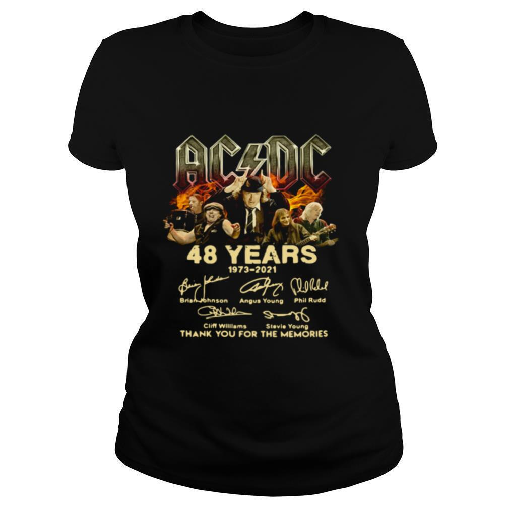 AC DC 48 Years 1973 2021 signatures thank you for the memories shirt
